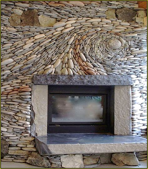 river rock tile fireplace home design ideas