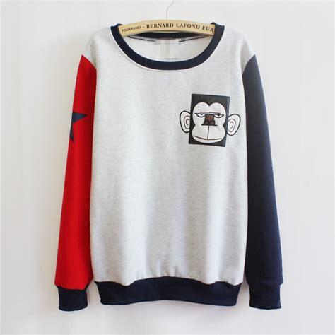 Sweater Wanita Korea Adidas 03 White korean s casual sweater print fleece pullover sweatshirt hoodie tops ebay