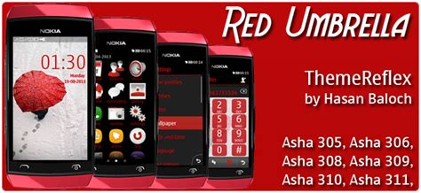 nokia asha 305 god themes red umbrella theme for nokia asha 305 asha 306 asha 308