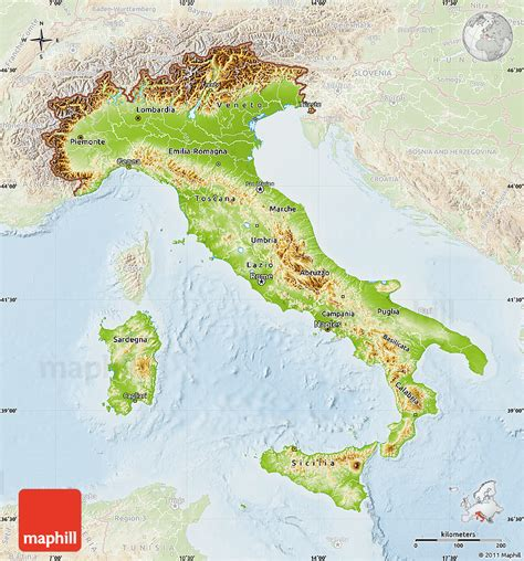 geographical map of italy physical map of italy lighten