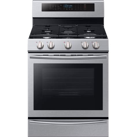 Oven Gas Stainless samsung 30 in 5 8 cu ft single oven gas range with self cleaning and true convection oven in
