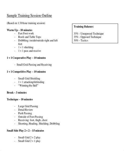 Session Outline Template by Session Outline