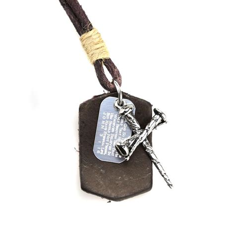 3 nail cross leather necklace st leather 4 s