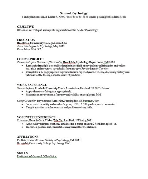 Psychology Resume psychology major resume sle career connoisseur