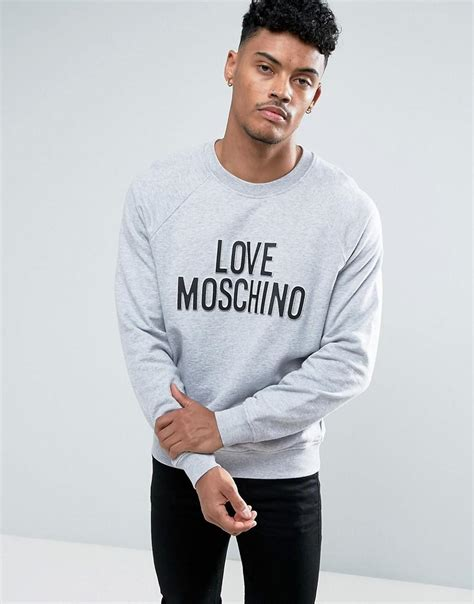 Moschino Hoodie Raglan moschino sweatshirt in grey with embossed logo in grey for lyst