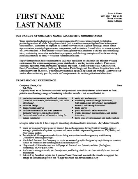 marketing coordinator resume sles marketing coordinator resume template premium resume