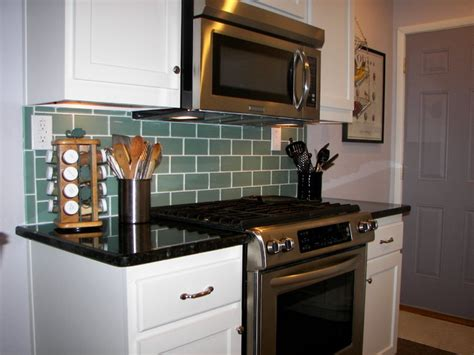 sage green 3x6 subway glass tile transitional kitchen