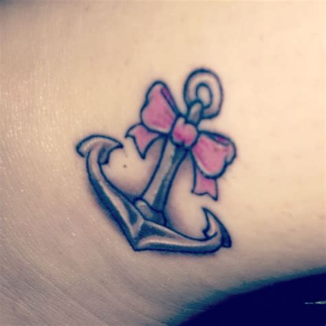 cute girly tattoos designs anchor with a girly touch pink bow