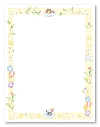printable baby stationery printable paper with baby borders sweet dreams baby