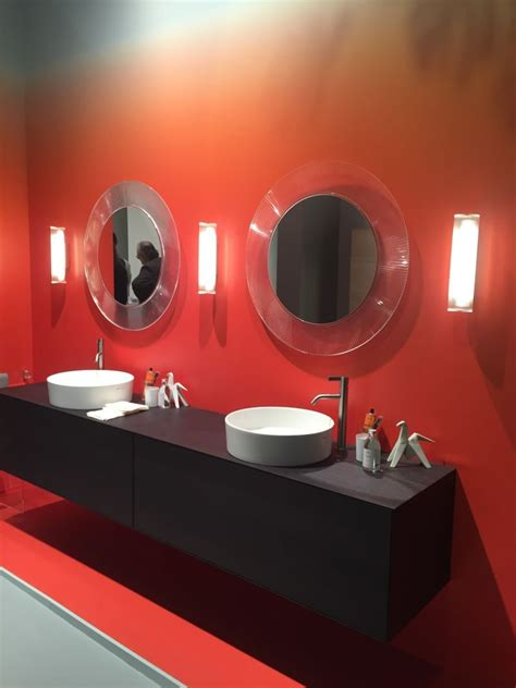 red wall bathroom red ombre wall for bathroom and double vanity home
