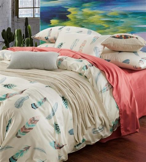 Colorful Bed Sheets Colorful Feather Bedding Set King Size Queen Full Double