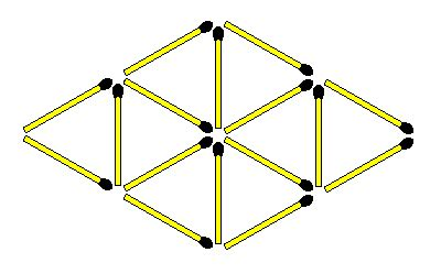 triangle matchstick pattern matchstick puzzles 216 create 6 rhombuses and 6 triangles