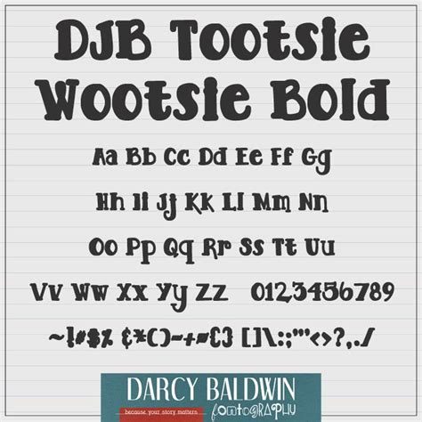 djb tootsie wootsie bold font by darcy baldwin fonts