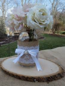 jar centerpieces for bridal shower decorated jar and wood slice wedding centerpieces