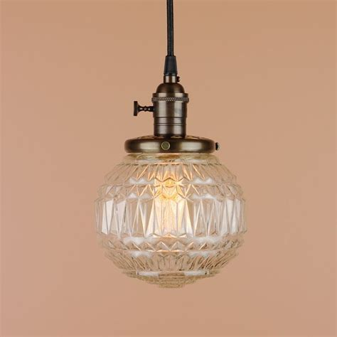 Clear Globe Pendant Light Pendant Light 6 Inch Faceted Textured Clear Glass Globe Antique