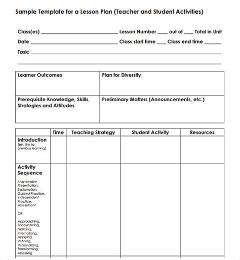 Blank Lesson Plan Template Pdf by Blank Lesson Plan Template 7 Free Documents In