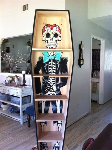 coffin bookcase painted by iwillgomad dia de los