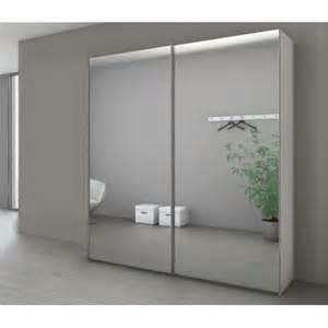 armoire marcato 224 2 portes coulissantes miroir argent