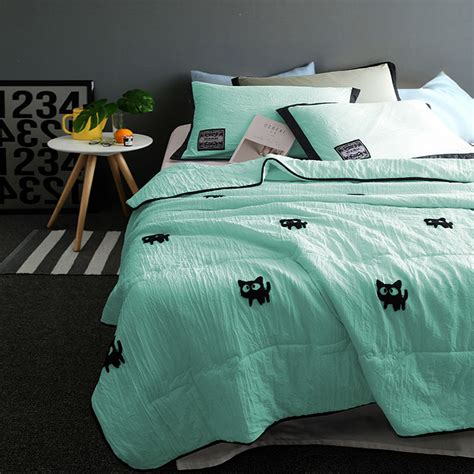 washing a king size comforter at home cartoon cat embroider summer quilts washing sanding