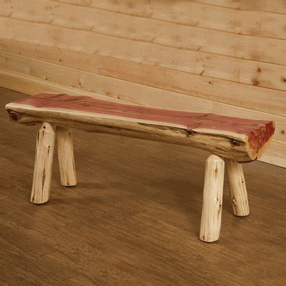 Wildwood Rustics Red Cedar Half Log Bench