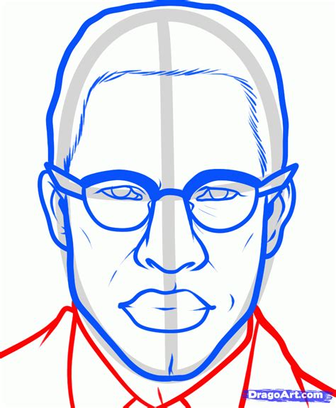 Drawing X On by How To Draw Malcolm X Step By Step Free