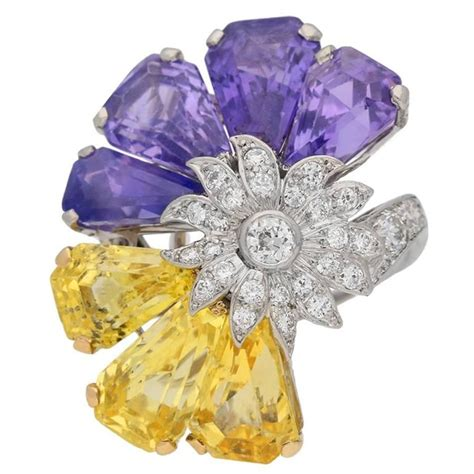 Bros Gold Purple Purple 1960s oscar heyman bros yellow and purple sapphire