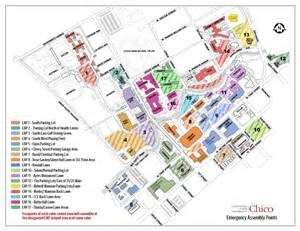 Map Of Chico State by Emergency Assembly Point Locations Emergency Preparation