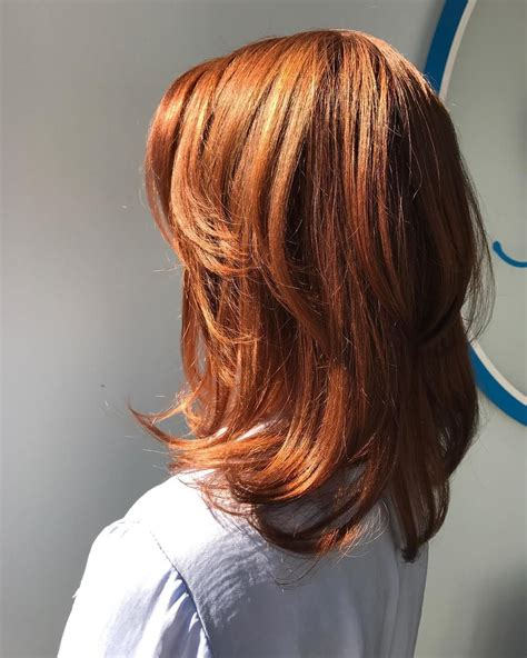 medium length chunky hairstyles copper red straight medium length hair with chunky layers