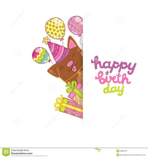 Birthday Card Template For Dogs by Happy Birthday Card Background With A Stock Vector