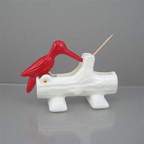bird toothpick dispenser bird toothpick holder hard plastic circa 1970 red woodpecker