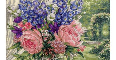counted cross stitch cross stitch yarn needle art dimensions gold collection peonies delphiniums counted