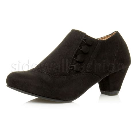 womens low mid heel buttons zip smart ankle shoe