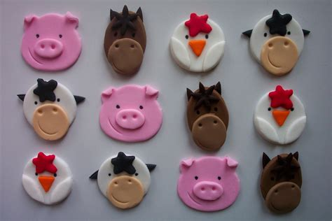 Cupcake Topper Farmer Animal fondant cupcake or cookie toppers farm animals by cookiecovers