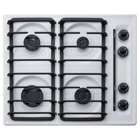 24 In Gas Cooktop - summit appliance 24 in white gas cooktop common 24 inch