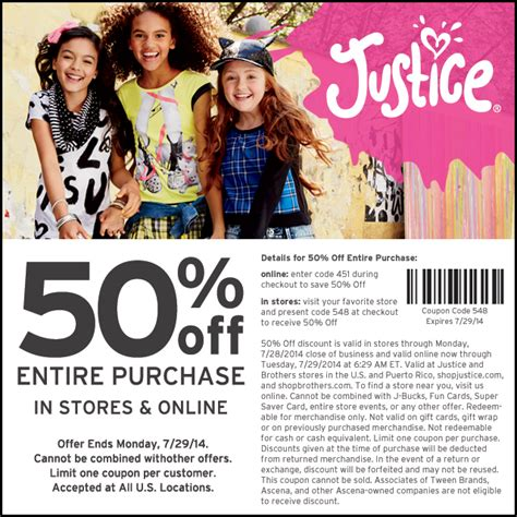Justice Gift Card Online - printable coupons justice for girls coupons