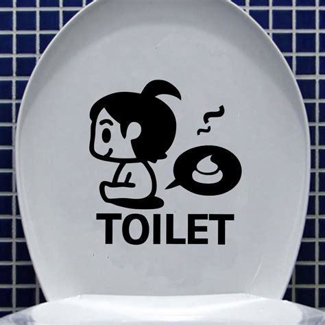 funny bathroom stickers diy funny cartoon toilet seat stickers bathroom
