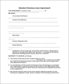 Free Business Loan Agreement Template doc 500645 business loan agreement template company