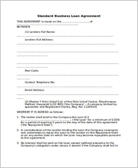 standard agreement template doc 585560 standard loan agreement template free loan