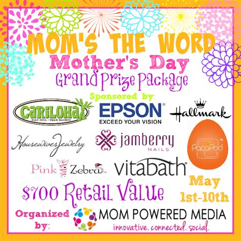 Grand Prize Giveaway - mom s the word grand prize giveaway mom powered media