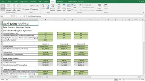 safe income calculation template investment property analysis worksheet rental property