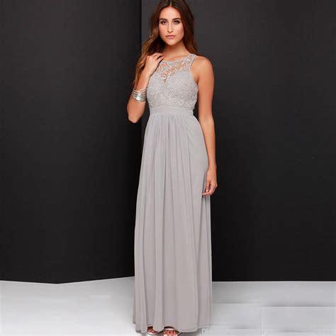 Gray Floor Length Bridesmaid Dresses by Gray Bridesmaid Dress A Line Sleeve O Neck Open Back Floor