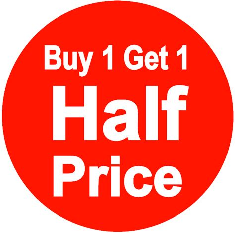 buy one buy one get one half price stickers available in 6 sizes
