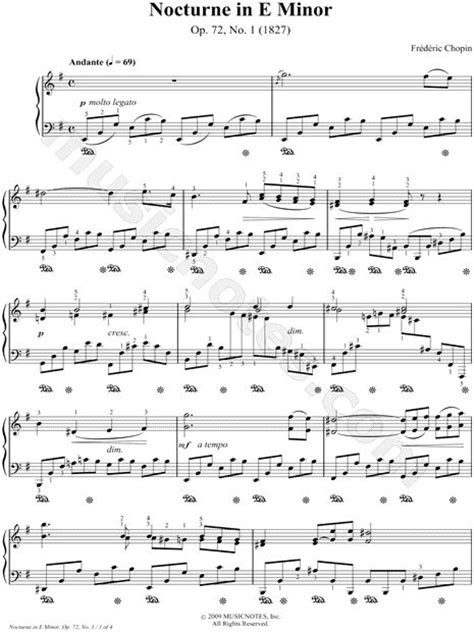 tutorial piano nocturne nocturne in e minor op 72 no 1 sheet music composed by