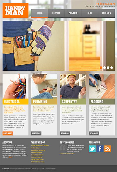 handyman services responsive theme with