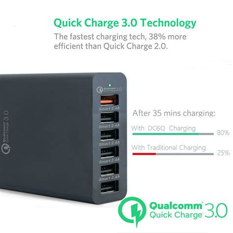 xpower smart qualcomm 3 0 58w 6 port charge family
