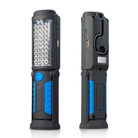 Termurah Usb Led Flashlight For Power Bank Blue usb rechargeable l 36 5 led flashlight outdoor work light magnet hook mobile power bank for
