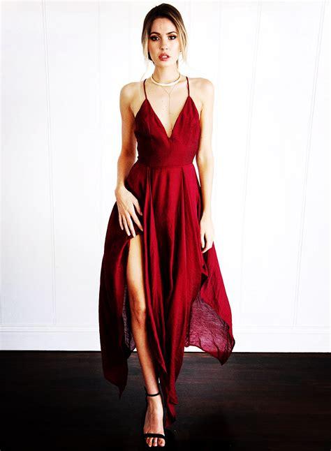 V Neck Solid Color Dress spaghetti v neck sleeveless solid color dress