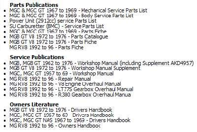 Mgv8 Parts And Service Publications On Dvd News On The V8