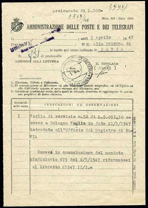 ufficio registro bologna storia postale italiana