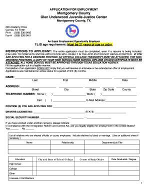 printable job application for justice olen underwood juvenile justice center fill online